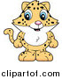 Big Cat Cartoon Vector Clipart of a Cute Baby Jaguar, Leopard or Cheetah Standing by Cory Thoman