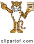 Big Cat Cartoon Vector Clipart of a Cute Cheetah, Jaguar or Leopard Character School Mascot Holding a Report Card by Toons4Biz