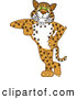 Big Cat Cartoon Vector Clipart of a Cute Cheetah, Jaguar or Leopard Character School Mascot Leaning by Toons4Biz
