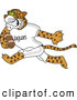 Big Cat Cartoon Vector Clipart of a Cute Jaguar Character School Mascot Playing Football by Toons4Biz