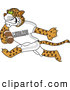 Big Cat Cartoon Vector Clipart of a Cute Leopard Character School Mascot Playing Football by Toons4Biz