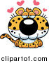 Big Cat Cartoon Vector Clipart of a Cute Leopard Cub with Hearts by Cory Thoman