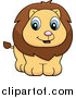 Big Cat Cartoon Vector Clipart of a Cute Lion Cub Smiling by Cory Thoman