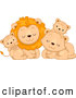 Big Cat Cartoon Vector Clipart of a Cute Lion Family Cuddling by BNP Design Studio