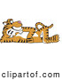 Big Cat Cartoon Vector Clipart of a Cute Tiger Character School Mascot Reclined by Toons4Biz