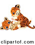 Big Cat Cartoon Vector Clipart of a Cute Tiger Cubs Being Playful by Pushkin