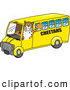 Big Cat Cartoon Vector Clipart of a Friendly Cheetah Character School Mascot Driving a Bus by Toons4Biz