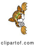 Big Cat Cartoon Vector Clipart of a Friendly Cheetah, Jaguar or Leopard Character School Mascot Looking Around a Corner by Toons4Biz