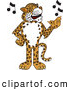Big Cat Cartoon Vector Clipart of a Friendly Cheetah, Jaguar or Leopard Character School Mascot Singing by Toons4Biz