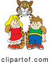 Big Cat Cartoon Vector Clipart of a Friendly Cheetah, Jaguar or Leopard Character School Mascot with School Children by Toons4Biz