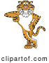 Big Cat Cartoon Vector Clipart of a Friendly Tiger Character School Mascot Leaning by Toons4Biz