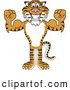 Big Cat Cartoon Vector Clipart of a Grinning Tiger Character School Mascot Flexing by Toons4Biz