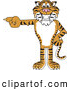 Big Cat Cartoon Vector Clipart of a Grinning Tiger Character School Mascot Pointing Left by Toons4Biz
