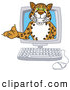 Big Cat Cartoon Vector Clipart of a Happy Cheetah, Jaguar or Leopard Character School Mascot in a Computer by Toons4Biz