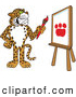 Big Cat Cartoon Vector Clipart of a Happy Cheetah, Jaguar or Leopard Character School Mascot Painting a Paw Print by Toons4Biz