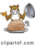 Big Cat Cartoon Vector Clipart of a Happy Cheetah, Jaguar or Leopard Character School Mascot Serving a Thanksgiving Turkey by Toons4Biz
