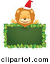 Big Cat Cartoon Vector Clipart of a Happy Christmas Lion over a Blank Holly Sign by Qiun