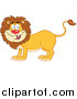 Big Cat Cartoon Vector Clipart of a Happy Male Lion Smiling by Hit Toon