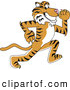 Big Cat Cartoon Vector Clipart of a Happy Tiger Character School Mascot Running by Toons4Biz