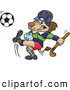 Big Cat Cartoon Vector Clipart of a Lion Carrying a Hockey Stick and Kicking a Soccer Ball, on White by Dennis Holmes Designs
