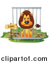 Big Cat Cartoon Vector Clipart of a Mad Male Lion in a Zoo Cage by Graphics RF