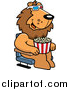 Big Cat Cartoon Vector Clipart of a Male Lion Eating Popcorn and Watching a 3d Movie at the Theater by Cory Thoman