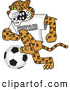 Big Cat Cartoon Vector Clipart of a Mean Cheetah Character School Mascot Playing Soccer by Toons4Biz