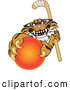 Big Cat Cartoon Vector Clipart of a Mean Tiger Character School Mascot Grabbing a Field Hockey Ball by Toons4Biz