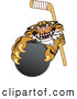 Big Cat Cartoon Vector Clipart of a Mean Tiger Character School Mascot Grabbing a Hockey Puck by Toons4Biz