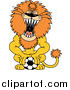 Big Cat Cartoon Vector Clipart of a Roaring Athletic Lion Pushing down on a Soccer Ball by Zooco