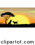 Big Cat Cartoon Vector Clipart of a Silhouetted Leopards by an Acacia Tree at Sunset by Graphics RF
