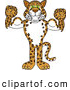 Big Cat Cartoon Vector Clipart of a Smiling Cheetah, Jaguar or Leopard Character School Mascot Flexing by Toons4Biz