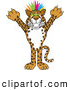 Big Cat Cartoon Vector Clipart of a Smiling Cheetah, Jaguar or Leopard Character School Mascot with Colorful Hair by Toons4Biz