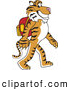 Big Cat Cartoon Vector Clipart of a Smiling Tiger Character School Mascot Walking to School by Toons4Biz