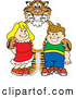 Big Cat Cartoon Vector Clipart of a Smiling Tiger Character School Mascot with Students by Toons4Biz