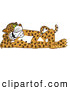 Big Cat Cartoon Vector Clipart of a Spotted Cheetah, Jaguar or Leopard Character School Mascot Reclined by Toons4Biz