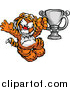 Big Cat Cartoon Vector Clipart of a Victorioius Tiger Champion Mascot Holding a Trophy by Chromaco
