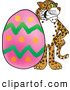 Big Cat Cartoon Vector Clipart of an Outgoing Cheetah, Jaguar or Leopard Character School Mascot with an Easter Egg by Toons4Biz