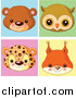 Big Cat Cartoon Vector Clipart of Cute Baby Bear Owl Leopard and Squirrel Avatar Faces by Pushkin