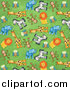 Big Cat Clipart of a Background of Cute Monkeys Owls Giraffes Zebras Lions and Elephants on Green by