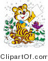 Big Cat Clipart of a Chirping Purple Bird in the Snow, Wearing a Santa Hat, Perched on a Tree by a Tiger Who Is Writing a Dear Santa Letter for Christmas by Alex Bannykh