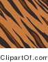 Big Cat Clipart of a Tan Brown and Black Tiger Stripes Print Background by AtStockIllustration