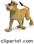 Big Cat Vector Clipart of a 3d Lioness Walking by Ralf61