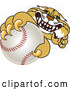 Big Cat Vector Clipart of a Aggressive Bobcat Character Grabbing a Baseball by Toons4Biz