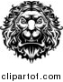 Big Cat Vector Clipart of a Black and White Angry Lion Head with a Curly Mane by Vector Tradition SM