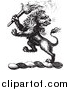 Big Cat Vector Clipart of a Black and White Lion Crest with a Torch by Picsburg