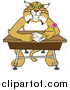 Big Cat Vector Clipart of a Bobcat Character Sitting at a Desk by Toons4Biz