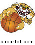 Big Cat Vector Clipart of a Bobcat Grabbing a Basketball by Toons4Biz