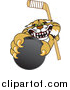 Big Cat Vector Clipart of a Bobcat Grabbing a Hockey Puck by Toons4Biz