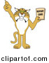 Big Cat Vector Clipart of a Bobcat Holding a Report Card by Toons4Biz
